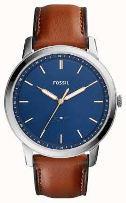 Fossil Mannen minimalistisch bruin leer FS5304