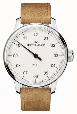 MeisterSinger Mens niet. 1 klassieke kant gewonden Sellita witte AM3301