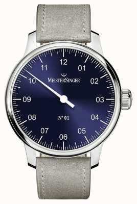 MeisterSinger Heren Classic niet. 1 handgewonden Sellita zonnestraal blauw AM3308