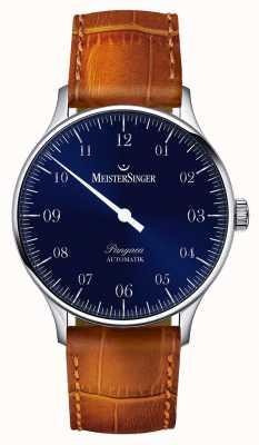 MeisterSinger Heren Classic pangea automatische zonnestraal blauw PM908