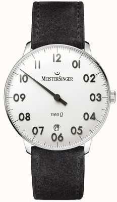 MeisterSinger Mens vorm en stijl neo q roestvrij staal en zwart suède NQ901N