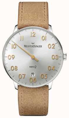 MeisterSinger Mens vorm en stijl neo q quarz zonnestraal zilver NQ901GN