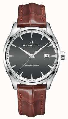 Hamilton Mens Amerikaanse klassieke jazzmaster kwarts leer H32451581