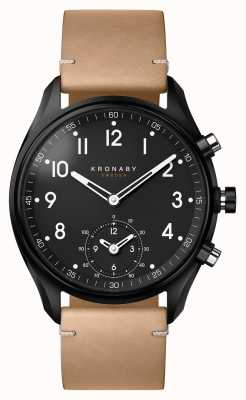 Kronaby 43 mm apex bluetooth zwarte pvd case / beige lederen smartwatch A1000-0730