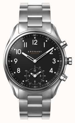 Kronaby 43 mm apex bluetooth roestvrij stalen zwarte wijzerplaat smartwatch A1000-1426