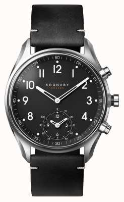 Kronaby 43 mm apex bluetooth zwart lederen band a1000-1399 S1399/1