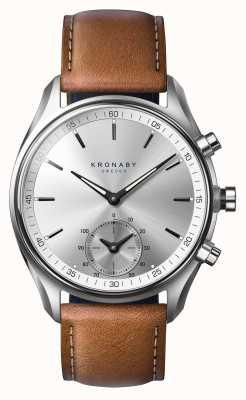 Kronaby 43 mm sekel bluetooth gelooide bruin lederen smartwatch A1000-0713