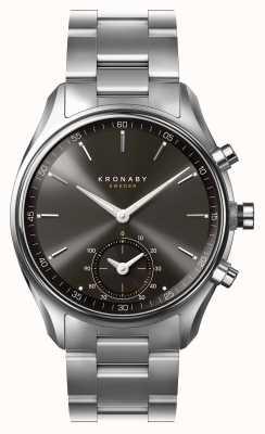 Kronaby 43mm sekel bluetooth zwarte wijzerplaat roestvrij stalen smartwatch A1000-0720