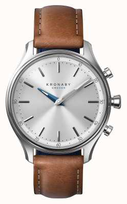 Kronaby 38 mm sekel roestvrij bruine lederen band smartwatch A1000-0658