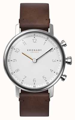 Kronaby 38mm nord bluetooth bruine lederen band smartwatch A1000-0711
