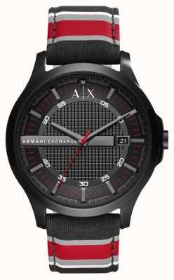 Armani Exchange Menskleding horloge zwarte rode streepbandje AX2197