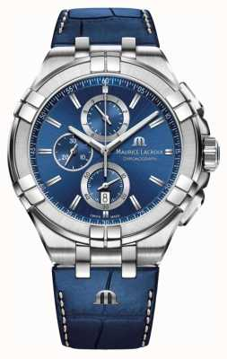 Maurice Lacroix Heren aikon blauwe chronograaf blauwe lederen band AI1018-SS001-430-1