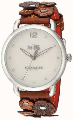 Coach Womans delancey horloge bruin bloem leren riem 14502744