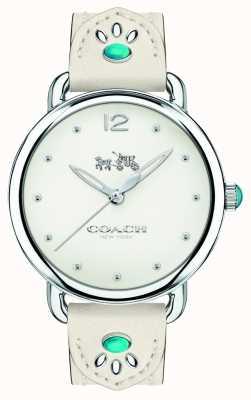 Coach Womans delancey horloge witte lederen band turkooise stenen 14502702
