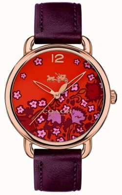 Coach Womans delancey horloge Bourgondië leren riem patroon dial 14502730