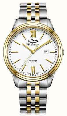 Rotary Heren-traditie Zwitsers maakte een tweetangmetaal armband GB90195/01