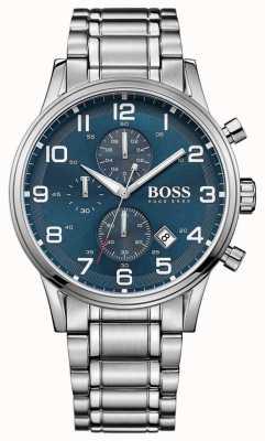 Hugo Boss Mens aeroliner chronograaf roestvrijstalen blauwe wijzerplaat 1513183