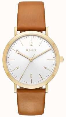 DKNY Womans minetta tan lederen riem gouden hoes horloge NY2613