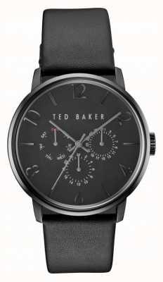 Ted Baker Mens james alle zwarte lederen chronograaf horloge TE10030763