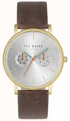 Ted Baker Mens brit 40mm zilveren wijzerplaat bruin stofbandje TE10031497