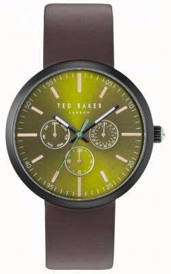 Ted Baker Heren jack groen chronograaf wijzerplaat bruin lederen riem TE10031502