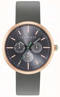 Ted Baker Mens jack grijze chronograaf wijzerplaat grijze lederen band TE10031503