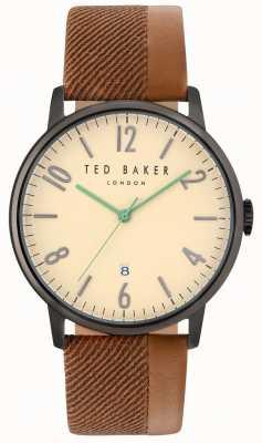 Ted Baker Mens daniel twee toon lederen riem crème wijzerplaat TE10031573