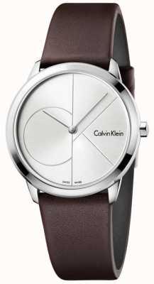 Calvin Klein Womans minimale bruine lederen riem zilveren wijzerplaat K3M221G6