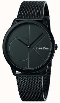 Calvin Klein Mannen minimale zwarte roestvrijstalen mesh armband K3M514B1