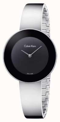 Calvin Klein Womans chique roestvrijstalen bangle zwarte wijzerplaat K7N23C41