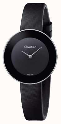 Calvin Klein Womans chique zwarte lederen riem zwarte wijzerplaat K7N23CB1