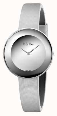 Calvin Klein Womans chique grijze lederen riem grijze wijzerplaat K7N23UP8