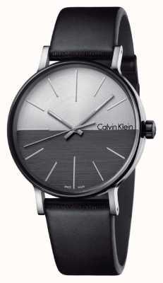 Calvin Klein Mens boost zwart leer twee toon wijzerplaat K7Y21CCX