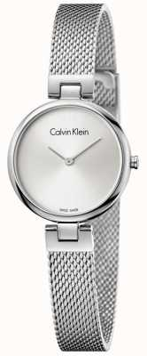 Calvin Klein Womans authentieke roestvrijstalen mesh armband zilveren wijzerplaat K8G23126