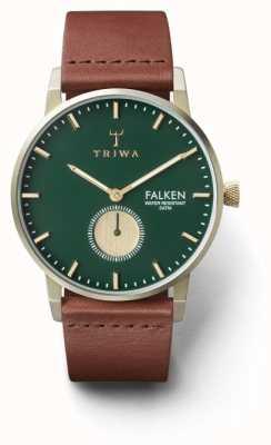 Triwa Mens dennenvalken bruin leer groen wijzerplaat FAST112-CL010217