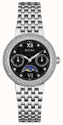 Bulova Womans diamantgalerie moonfase roestvrijstalen armband 96W210
