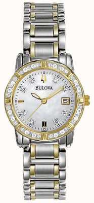 Bulova Womans diamantgalerij twee-tone roestvrijstalen armband 98W107
