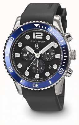 Elliot Brown Bloxworth blauwe en zwarte zwarte rubberen band voor heren 929-012-R01
