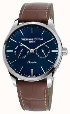 Frederique Constant Mens klassiekers kwarts bruin lederen riem blauwe wijzerplaat FC-259NT5B6