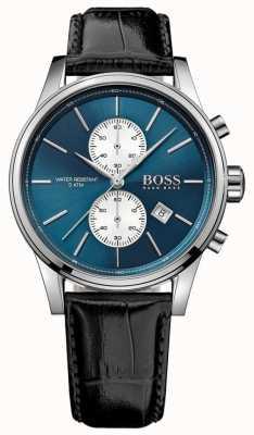 Hugo Boss Mens jet chronograaf zwart leren riem blauwe wijzerplaat 1513283