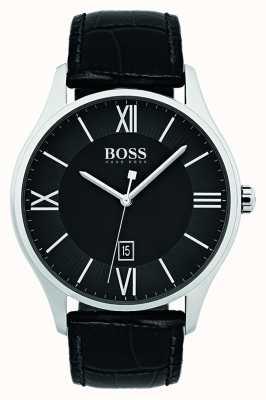 Hugo Boss Mensgouverneur klassiek zwart leren riem horloge 1513485