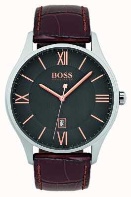 Hugo Boss Mens gouverneur klassiek bruin lederen riem horloge 1513484