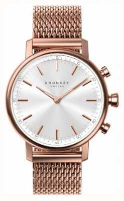Kronaby 38mm carat bluetooth rose vergulde mesh smartwatch A1000-1400