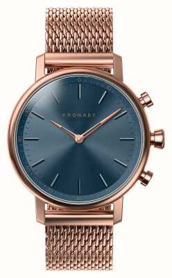 Kronaby 38mm carat bluetooth rose goud blauwe wijzerplaat smartwatch A1000-0668