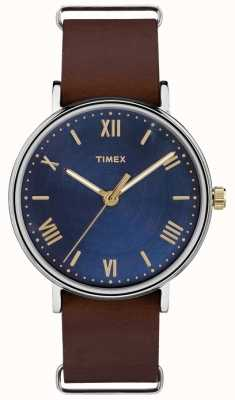 Timex Mens southview 41mm blauwe wijzerplaat bruine band TW2R28700