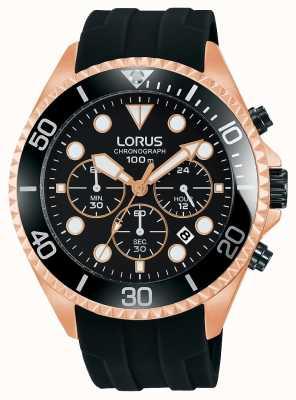 Lorus Mens sport chronograaf zwart roos goud toon geval RT322GX9