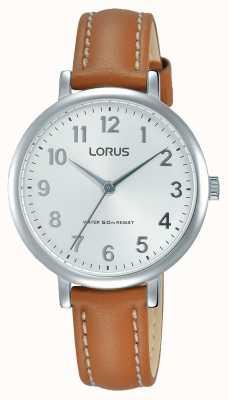 Lorus Womans zachte witte wijzerplaat bruine lederen riem RG237MX7