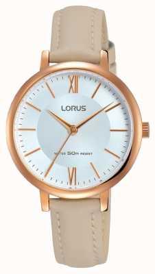 Lorus Womans zilveren zonnewijzer lederen riem RG264LX8