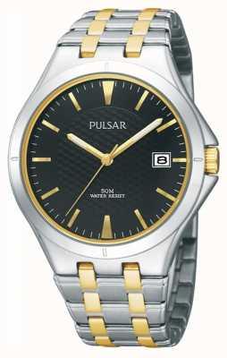 Pulsar Dubbel gekleurde metalen braclet zwarte wijzerplaat van heren PXH909X1