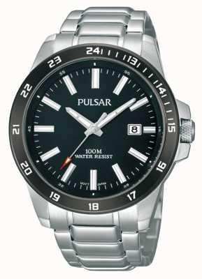 Pulsar Mens roestvrij stalen armband zwarte wijzerplaat PS9223X1